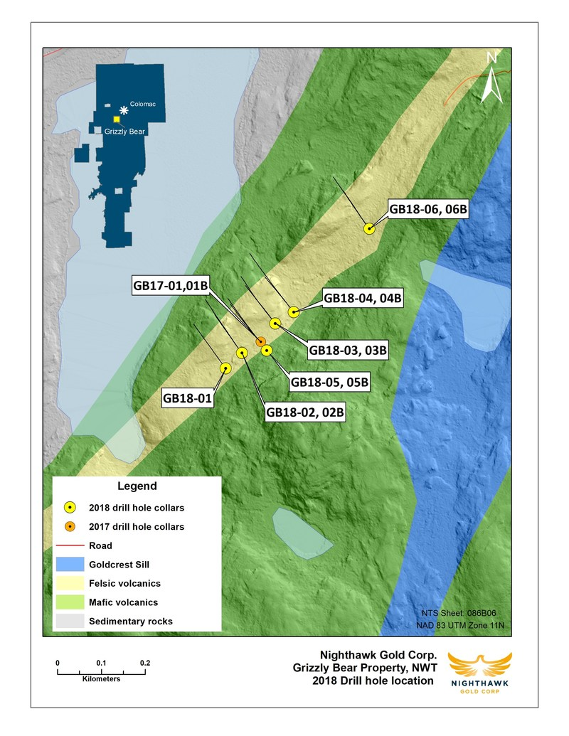 Figure 1.  Plan View – Grizzly Bear Drillhole Locations (CNW Group/Nighthawk Gold Corp.)