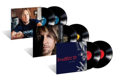 """Keith Urban's latest #1 album 'Graffiti U' and his beloved albums 'Be Here"""" and 'Love, Pain & the Whole Crazy Thing' are now available on vinyl for the first time."""