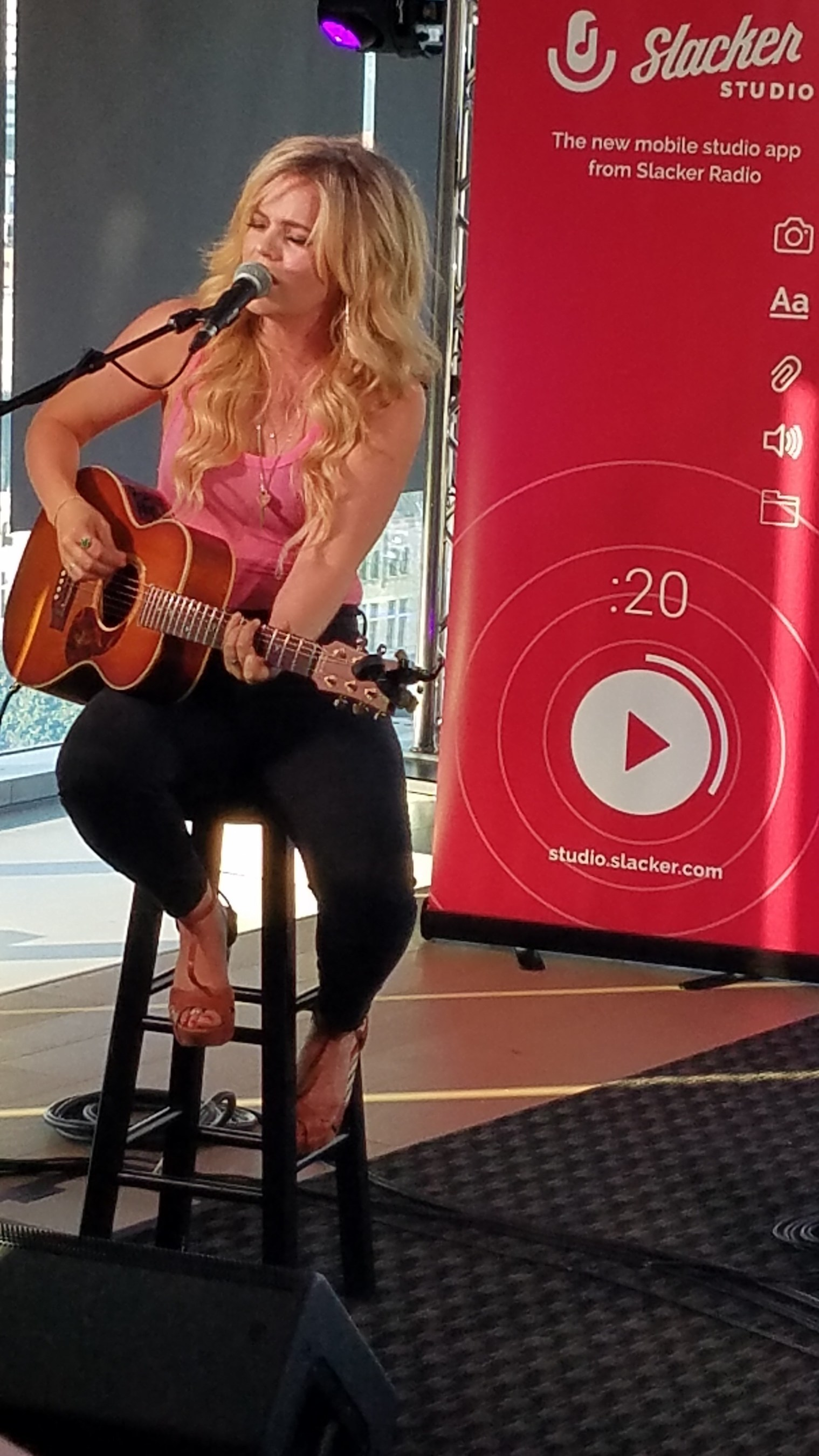 Natalie Stovall performing at Slacker #WCE Country launch party at WME in Nashville on August 7, 2018.