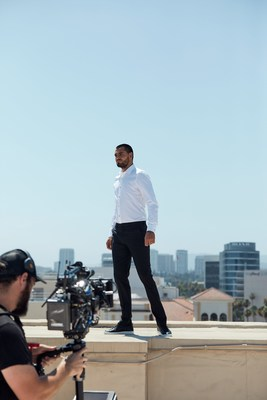 "• Manchester United goalkeeper, Sergio Romero, stands tall over the city skyline during a Chivas film shoot in July in Los Angeles, United States. The film was released to announce Chivas as the ""Official Global Spirits Partner"" of Manchester United."