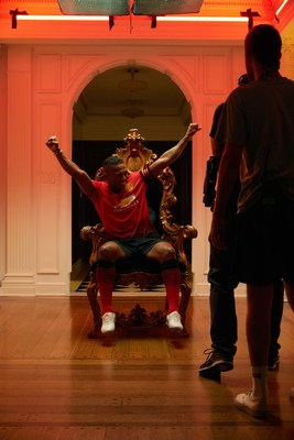 "• Manchester United captain, Antonio Valencia, celebrates on a golden throne during a Chivas film shoot in July in Los Angeles, United States. The film was released to announce Chivas as the ""Official Global Spirits Partner"" of Manchester United."