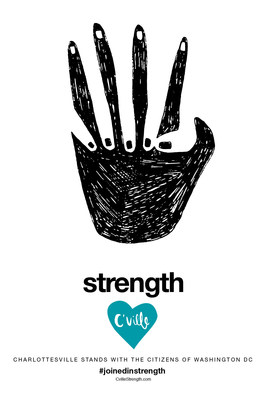 """The """"Joined in Strength"""" campaign encourages people nationwide to show solidarity against racism and hate by spreading messages of positivity and inclusiveness. Free downloadable and printable posters, stickers, T-shirt iron-ons and social media graphics that can be used to advocate against hate are available for download at https://cvillestrength.com/."""