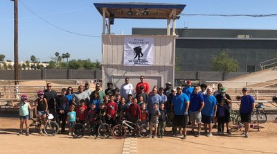 BMX instructors with Wounded Warriors after a day of mastering basic freestyle moves.