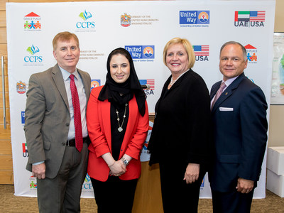 Dana Al Marashi [2nd from left] from the Embassy of the United Arab Emirates in Washington, DC, leadership from The United Way of Collier County, Collier County Public Schools (CCPS) and Grace Place for Children and Families today announced the disbursement of $2.7 million in funds to help rehabilitate and improve areas affected by Hurricane Irma.