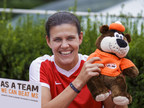 Christine Sinclair has teamed up with A&W Canada and the MS Society of Canada for the 10th Burgers to Beat MS campaign. On August 16, A&W Canada will donate $2 from every Teen Burger® sold to the MS Society of Canada. (CNW Group/A&W Food Services of Canada Inc.)