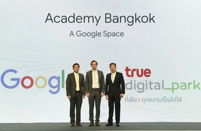 From left: Thanasorn Jaidee, President of True Digital Park; Ben King, Country Director, Google Thailand, and Dr. Kittinut Tikawan, President (Co) of True Corporation Plc during the announcement of Google and True Digital Park partnership.