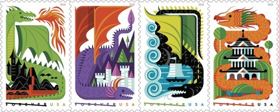 These colorful Dragons Forever stamps are on sale today at local Post Office locations and usps.com/shop.