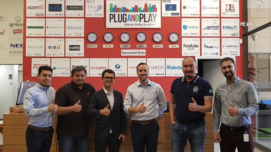 BI Group visits Plug and Play's HQ in Silicon Valley. From left to right: Miles Tabibian – Director of Plug and Play Real Estate Tech, Sayasat Nurbek – COO BeInTech, Bagdat Mussin – CTO BI Group, Kevin Withstandley – Partnerships Manager IoT, Mobility, Real Estate, Kemél Aitzhanov – Managing Partner, BI Innovation, Kia Nejatian – Associate, Plug and Play Ventures