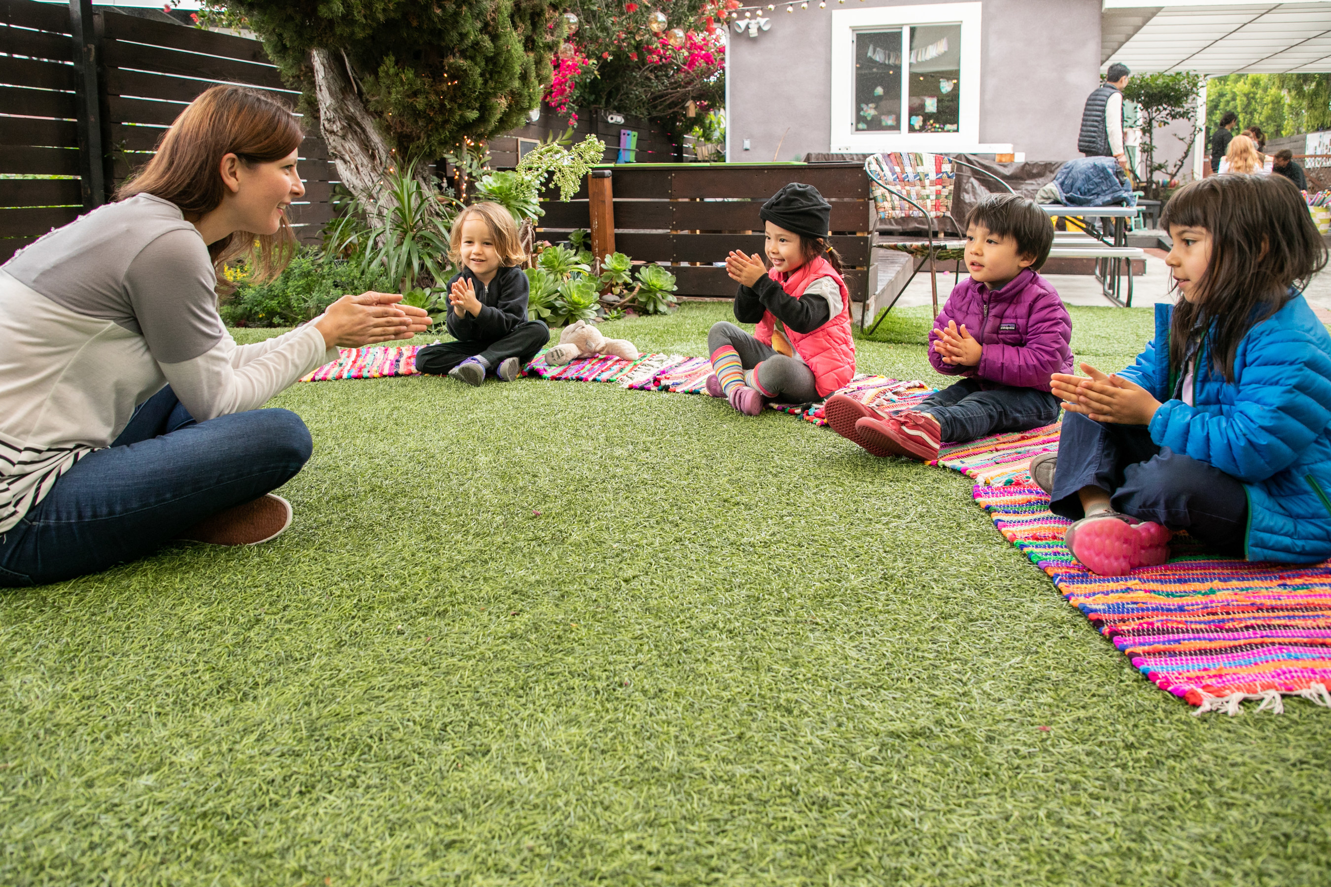 Outdoor circle time at Little Nest Learning Space, a home-based preschool in Highland Park, Los Angeles.