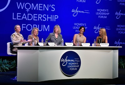 Wynn Las Vegas Hosts Second Women's Leadership Forum. (L-R) Las Vegas Metropolitan Police Captain Kelly McMahill, Regional Transportation Commission of Southern Nevada General Manager Tina Quigley, Wynn Las Vegas EVP Hotel Sales & Marketing Chris Flatt, UNLV Director of Athletics Desiree Reed-Francois and former President and COO of Luxor, Excalibur and Mandalay Bay hotels Renee West.