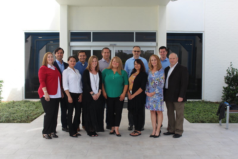 Brightway Insurance Agency Owners and their teams gathered at Brightway's Home Office in Jacksonville, Fla., for Training prior to opening their stores. Front row (L to R): Tiffany Baban, Yanexis Avila, Lorrie Crumbaker, Ruth Mote, Irene Kraszulyak, Susan Davis and David Pickel. Back row (L to R):  Federico Bocca, Robert Kraszulyak, Brian Crumbaker, Rich Dorrian and Chace Caminiti.