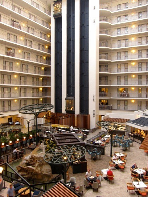 The new atrium at the Embassy Suites DFW South hotel. (CNW Group/American Hotel Income Properties REIT LP)