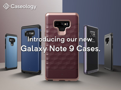 Caseology Delivers the Top Choice Cases for Galaxy Note 9 - Featured Cases: Legion (Blue Coral), Legion (Ocean Blue), Parallax (Burgundy), Skyfall (Lavender Purple), & Legion (Black)