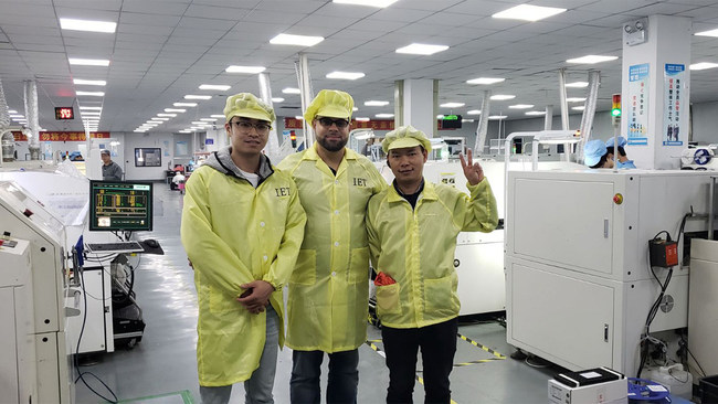 The founder Jing and client Osmay are visiting PCB manufacturer in Kunshan, China