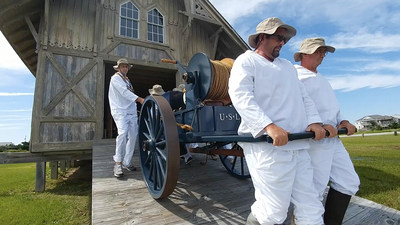Visitors can see re-enactments of practice drills from the late 1800's at Chicamacomico Lifesaving Station Historic Site on Hatteras Island, in the Outer Banks of North Carolina. The Rodanthe, NC attraction is one of many historical points on the OBX that may interest military travelers.