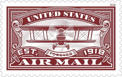 The U.S. Postal Service delivers a second United States Air Mail Forever stamp in red to commemorate the 100th anniversary of U.S. Air Mail which began on Aug. 12, 1918. An identical blue version of this stamp issued earlier this year paid tribute to the pioneering spirit of Army pilots who initiated airmail service May 15, 1918.