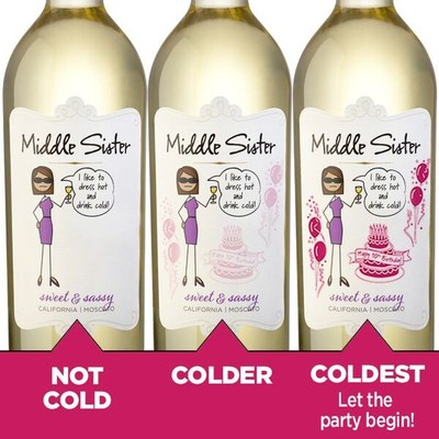 Middle Sister celebrates its 10th Anniversary with a label that reveals a celebration when chilled.