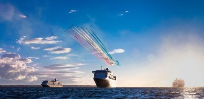 Cunard Queens Meet Red Arrows in the Solent in Southampton
