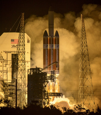 The United Launch Alliance Delta IV Heavy rocket launches NASA's Parker Solar Probe to touch the Sun at 3:31 a.m. EDT Sunday, Aug. 12, 2018 from Launch Complex 37 at Cape Canaveral Air Force Station, Florida. Parker Solar Probe is humanity's first-ever mission into a part of the Sun's atmosphere called the corona.  Here it will directly explore solar processes that are key to understanding and forecasting space weather events that can impact life on Earth. Credit: NASA/Bill Ingalls