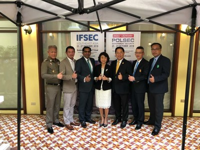 Renowned speakers at IFSEC Southeast Asia seminar. From L-R: Police Colonel Akkarin Sukkasem, Royal Thai Police, General Bunjerd Tientongdee, National Space Policy Committee and National Cybersecurity Committee, Mr M Gandhi, UBM Asia, Ms Anuchana Vichvech, UBM Asia (Thailand) Co Ltd, Dr Vallop Kingchansilp, Asia-Pacific Security Association, Major General Dr Prachya Chalermwat, Office of the Permanent Secretary for Defence, Mr Surachet Sringam, The Building Inspectors Association (PRNewsfoto/UBM Asia (Malaysia))