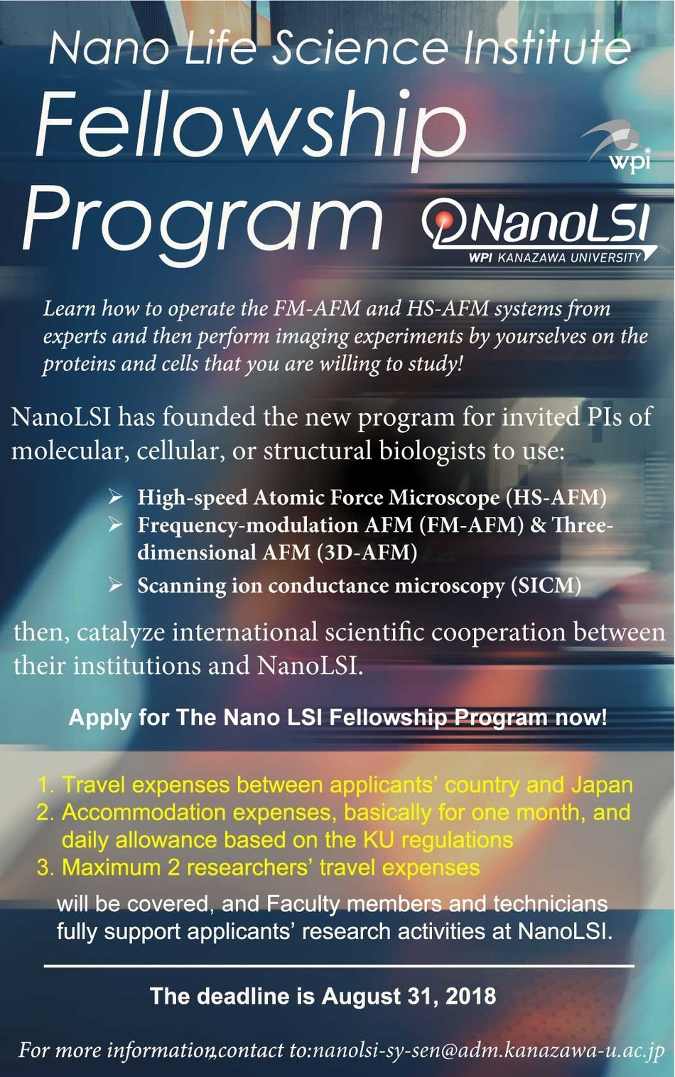 Flyer for the Fellowship program NanoLSI Fellowship Program (PRNewsfoto/Kanazawa University)