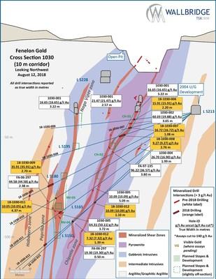 Figure 5:  Fenelon Gold, Cross Section 1030 (CNW Group/Wallbridge Mining Company Limited)