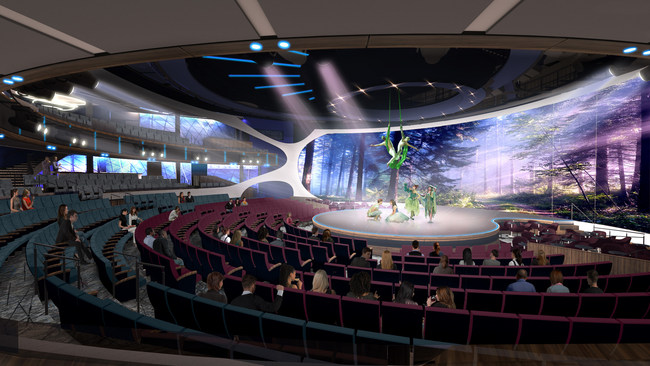The Theatre on Celebrity Edge is a truly unique space designed to blur the line between audience and performance and immerse guests in an entertainment experience like they've never seen before. Note: Additional hi-res renderings and video are available for download at www.celebritycruisespresscenter.com.