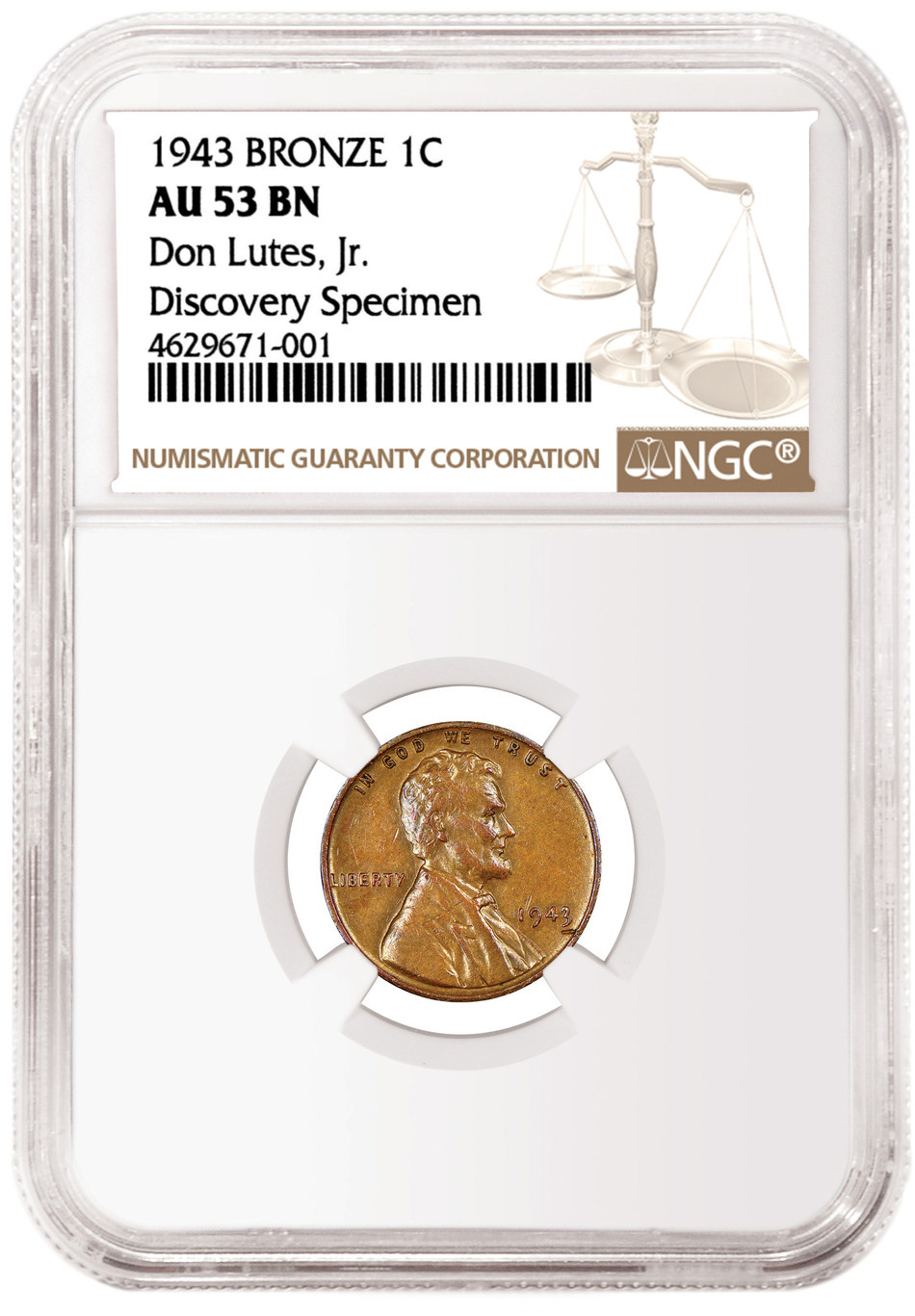 Obverse of the 1943 Bronze Cent, graded NGC AU 53 BN, and pedigreed as the Don Lutes, Jr. Discovery Specimen