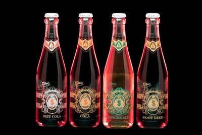 Gene Simmons' premium MoneyBag Sodas introduced in four flavors.