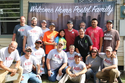 Team Rubicon, Carhartt and Alex Bregman of the Astros welcome the Postel family back to their Houston home which was severely damaged during Hurricane Harvey in 2017.