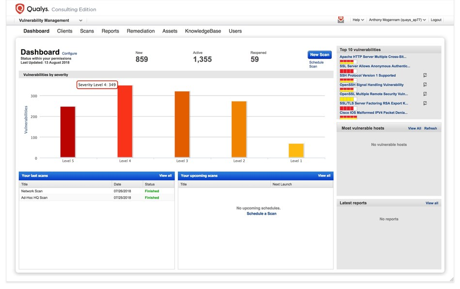 Qualys Consulting Edition delivers the power and scale of the Qualys Cloud Platform in an easy to deploy, easy to use and cost-effective solution.