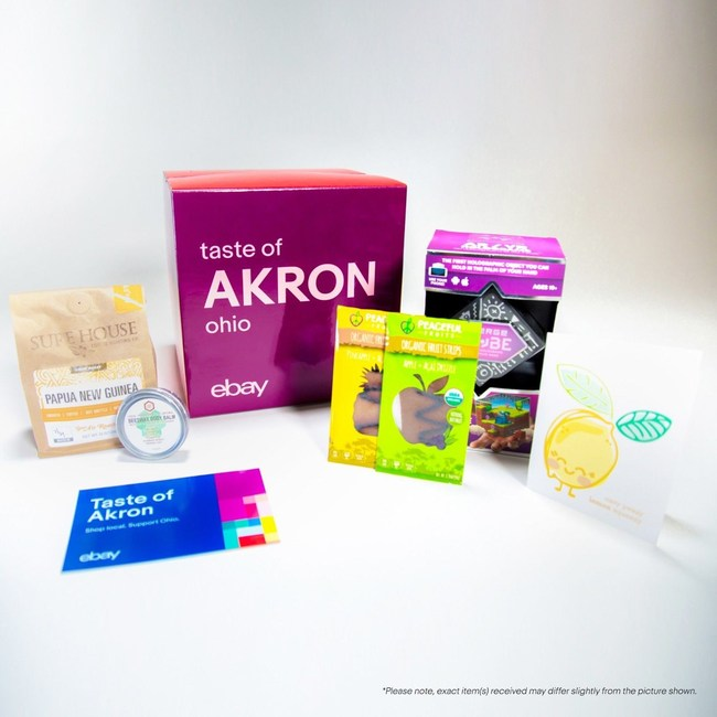 Shoppers everywhere can get a 'Taste of Akron' with the purchase of limited edition boxes featuring a collection of items at eBay.com/Akron. One hundred percent of the proceeds benefit The Well CDC – an Akron community development organization.