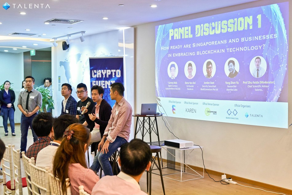 Expert Panel: (from right) Leonard Tan (Software Engineer at Consensys and Developer Relations at Ethereum Foundation), Yong Zhen Yu (Researcher at Akomba Labs), Jorden Seet (Security Consultant at BlockConnectors), Carney Mak, (Digital Currency Subcommittee Member from ACCESS ) and Moderator Professor Zhu Fei Da (Chief Scientific Advisor, Talenta)