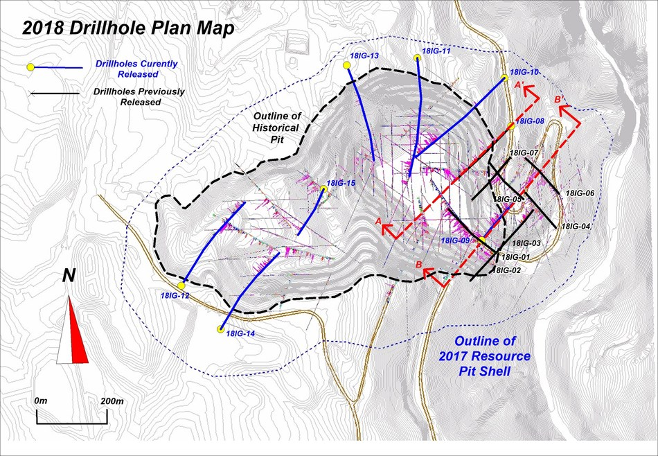 APPENDIX B: PHASE 2 DRILL HOLE MAP - 2018 Drillhole Plan Map (CNW Group/Copper Mountain Mining Corporation)