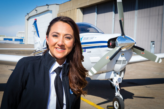 Shaesta Waiz, the youngest woman to fly solo around the world in a single-engine aircraft, will christen Goodyear's newest blimp, Wingfoot Three.