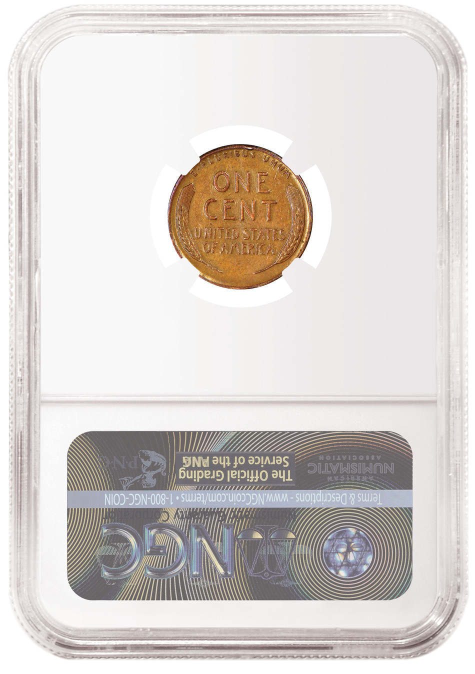 Reverse of the 1943 Bronze Cent, graded NGC AU 53 BN, and pedigreed as the Don Lutes, Jr. Discovery Specimen