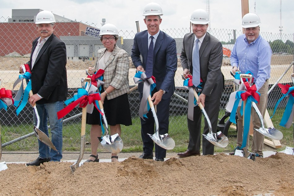 Officials break ground on corporate headquarters building for Exact Sciences on Aug. 14, 2018 in Madison, Wis. Pictured L-R: Paul Soglin, mayor, City of Madison; Rebecca Blank, chancellor, University of Wisconsin-Madison & president, University Research Park Board of Trustees; Kevin Conroy, chairman and CEO, Exact Sciences; Aaron Olver, managing director, University Research Park; and Mark Pocan, U.S. Congressman.