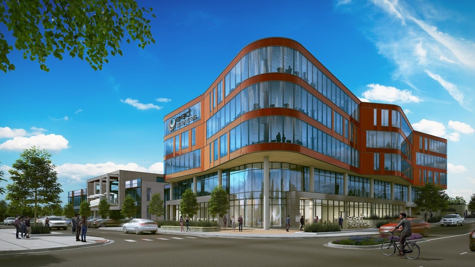 Rendering of Innovation One, a 138,000 square-foot building being developed by University Research Park to serve as Exact Sciences' corporate headquarters.