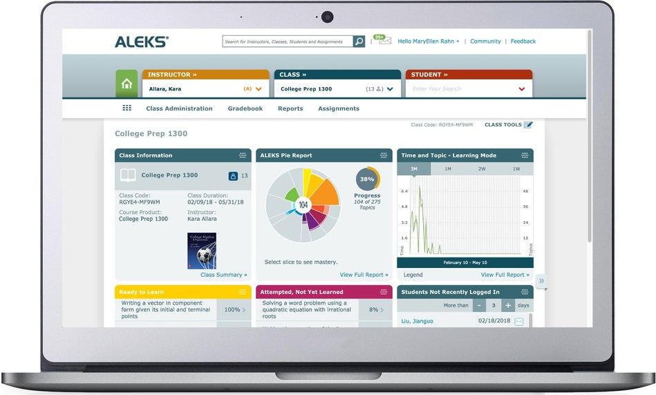 ALEKS helps improve student outcomes by pinpointing what students already know, what they don't and, most importantly, what they're ready to learn next.