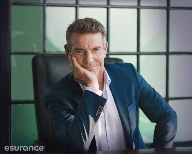 """Dennis Quaid makes his appearance as the new Esurance spokesperson for its """"Surprisingly Painless"""" brand campaign. Esurance is making insurance easy to understand, simple to use, and affordable. In other words, making insurance surprisingly painless."""