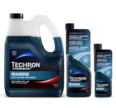 From left to right: Techron® Protection Plus Marine Fuel System Treatment 128 oz. bottle, 10 oz. bottle and 4 oz. bottle
