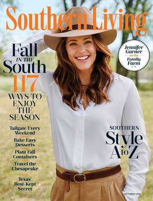 Jennifer Garner on the cover of the September issue for Southern Living magazine