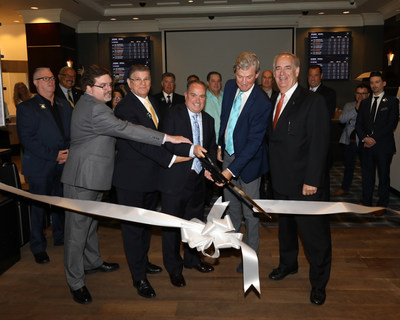 Resorts Casino Hotel Sports Book ribbon cutting with (from left to right) Joe Cavilla, VP of Casino Operations; Danny Fanty, Executive Director Table Games; Mark Giannantonio, President and CEO Resorts Casino Hotel; Ed Andrewes, Lead Consultant to ResortsCasino.com; David Rebuck, Director of the New Jersey Division of Gaming Enforcement