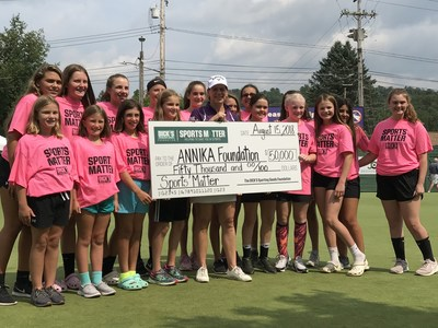 World Golf Hall of Famer Annika Sörenstam and participants from the ANNIKA Foundation's 'Share My Passion' golf clinic receive $50,000 grant on behalf of The DICK'S Sporting Goods Foundation's Sports Matter program.