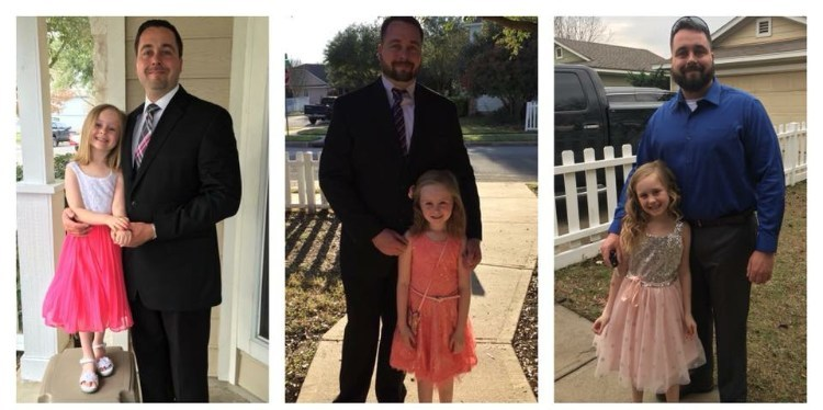 Marine Corps veteran Joseph LaBonte and his daughter, Lilliana getting ready for their first Wounded Warrior Project father-daughter dance (they have attended for three years now).