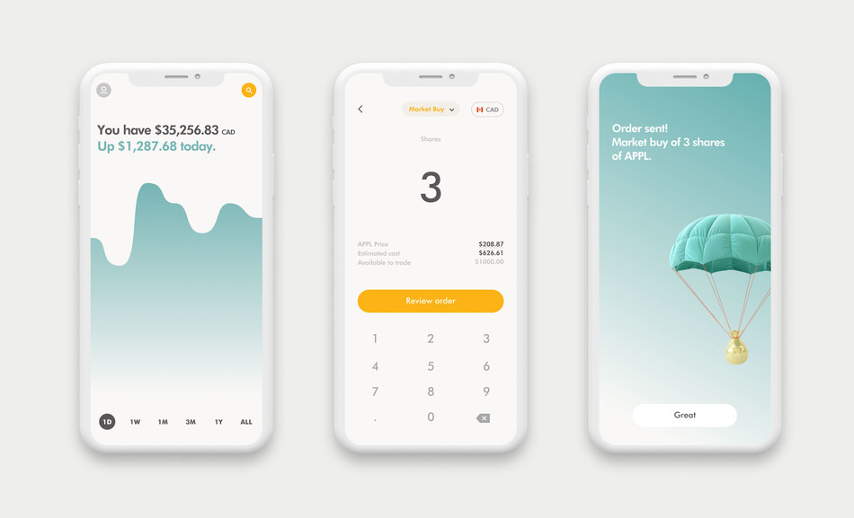 Wealthsimple Trade will let Canadians trade stocks and ETFs through a simple mobile app -- with no commission fees and no minimum account balance. (CNW Group/Wealthsimple)