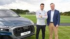 Mauricio Pochettino, Manager of Tottenham Hotspur, (left) with Andrew Doyle, Director of Audi UK, (right) announcing a new partnership. Audi is now the Official Car Partner for Tottenham Hotspur.