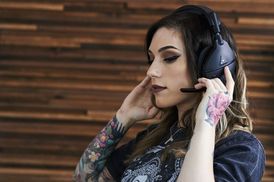 "OpTic Gaming's Sheila ""Ptero"" Weidman with the new Turtle Beach Atlas Three PC gaming headset."