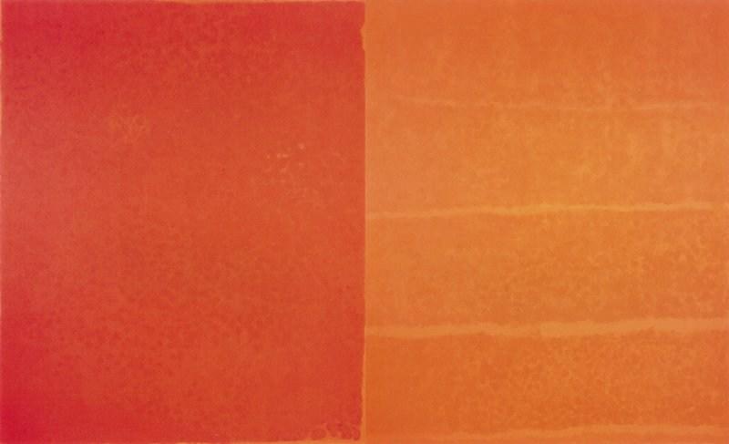 Françoise Sullivan, Hommage to Paterson [Hommage à Paterson], diptych, 2003 Acrylic on canvas.  137 x 226 in.  Photo: Guy L'Heureux / Galerie Simon Blais  © Françoise Sullivan / SODRAC (2018) (CNW Group/Musée d'art contemporain de Montréal)