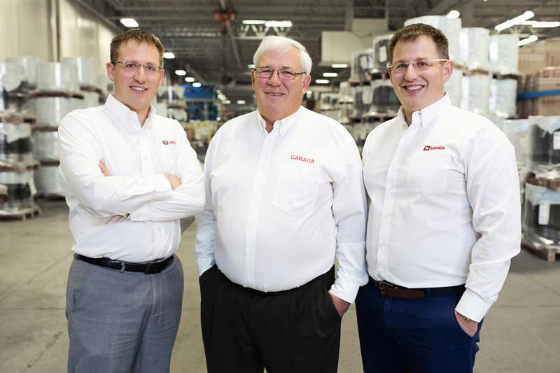 Co-President Maxime Gendreau, Executive Chairman of the Board Michel Gendreau and Co-President Martin Gendreau (CNW Group/Garaga Inc.)